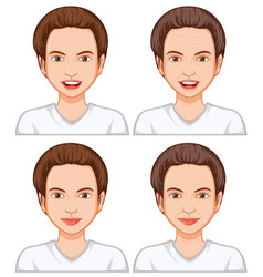 Female facial expression ageing vector