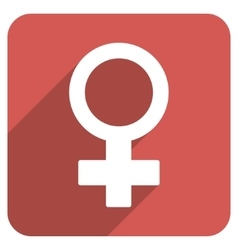 Female Symbol Flat Rounded Square Icon with Long vector image