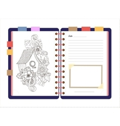 Flat design opened notepad Sketchbook diary vector