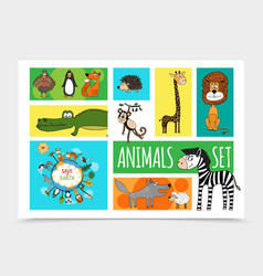 flat wild cute animals collection vector image