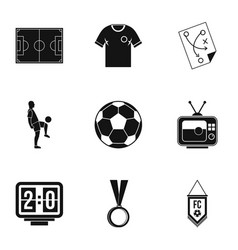 Football championship icons set simple style vector
