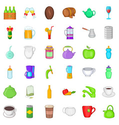 Fruit and drink icons set cartoon style vector
