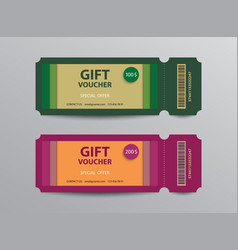 Gift voucher ticket stub templates vector