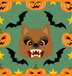 Halloween background seamless with werewolf vector