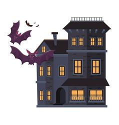 Halloween dark haunted mansion building with bats vector