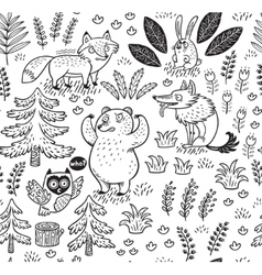 Hand drawn seamless pattern with animals in vector