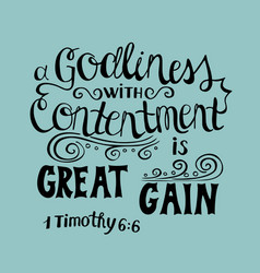 Hand lettering great gain is godliness vector