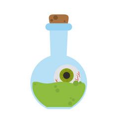 happy halloween potion bottle with creepy eye vector image