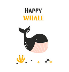 Happy whale card isolated on white scandinavian vector