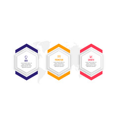 Hexagonal three steps business infographic vector