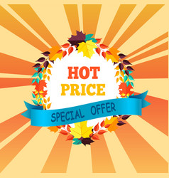 Hot price special offer with round frame of leaves vector