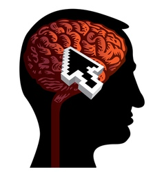 human head with brain vector image