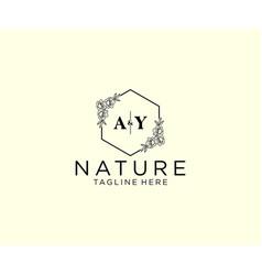 Initial ay letters botanical feminine logo vector