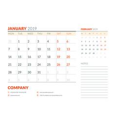 january 2019 week starts on monday calendar vector image
