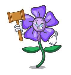 Judge periwinkle flower mascot cartoon vector