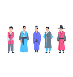 Korea traditional clothes set of men wearing vector