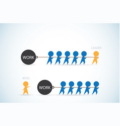 leader vs boss leadership and business concept vector image