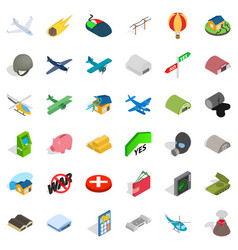 Long war icons set isometric style vector