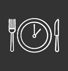 Lunch time chalk icon vector