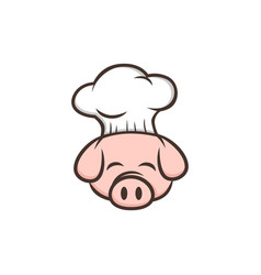 master chef pig pork bacon theme cartoon vector image