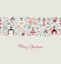 merry christmas cute retro decoration card design vector image