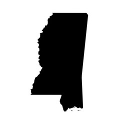 Mississippi state of usa - solid black silhouette vector