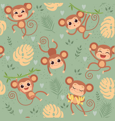 monkey pattern wild little animals chimpanzee vector image