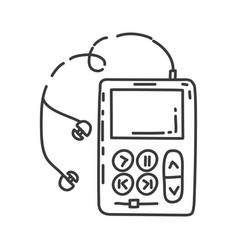 monochrome contour of portable music device vector image
