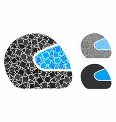 Motorcycle helmet composition icon uneven items vector