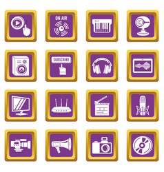 multimedia internet icons set purple square vector image