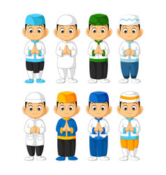 Muslim boy cartoon set isolated vector
