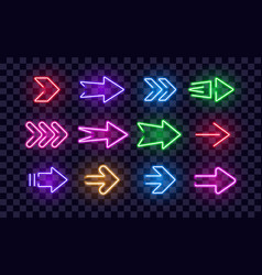 Neon right arrows colorful icons set vector