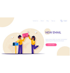 New email concept people stand with a paper vector