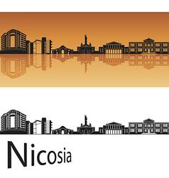 Nicosia skyline in orange background vector