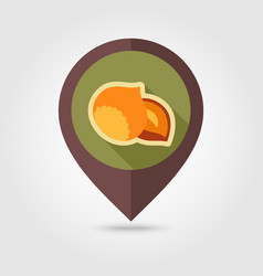 Nut flat pin map icon fruit vector