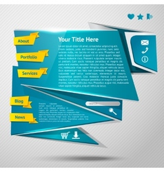 Origami website template vector