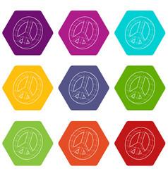 Pacific symbol icons set 9 vector