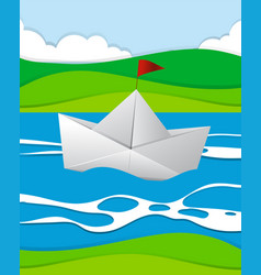 Paper boat floating in the river vector
