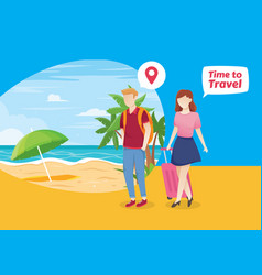 People vacation to tropical island vector