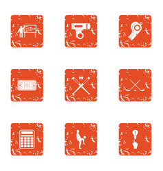 Plan icons set grunge style vector