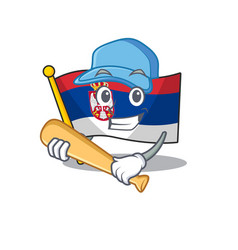 Playing baseball flag serbia isolated with the vector