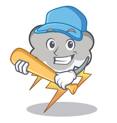 playing baseball thunder cloud character cartoon vector image