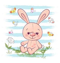 postcard cute little hare flowers vector image