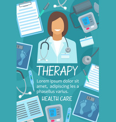 Poster of health and medical therapy items vector