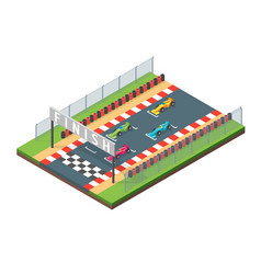racing finish line isometric view vector image