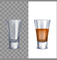 Realistic detailed 3d shot glasses set vector