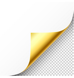 Realistic golden curled page corner with shadow vector