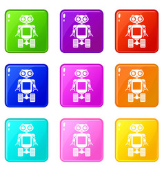 Robot on wheels icons 9 set vector