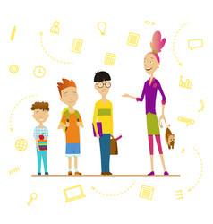 schoolchildren and senior pupil school boys vector image