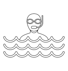 Scuba diving icon simple style vector image